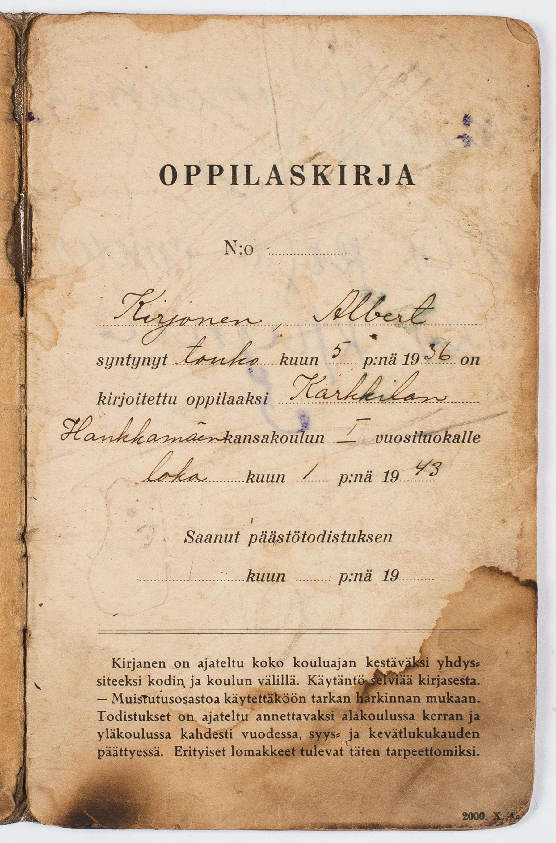 Kuva Albert Kirjasen oppilaskirjan sivusta vuodelta 1943. SKS KIA, Albert Kirjasen arkisto. CC BY 4.0
