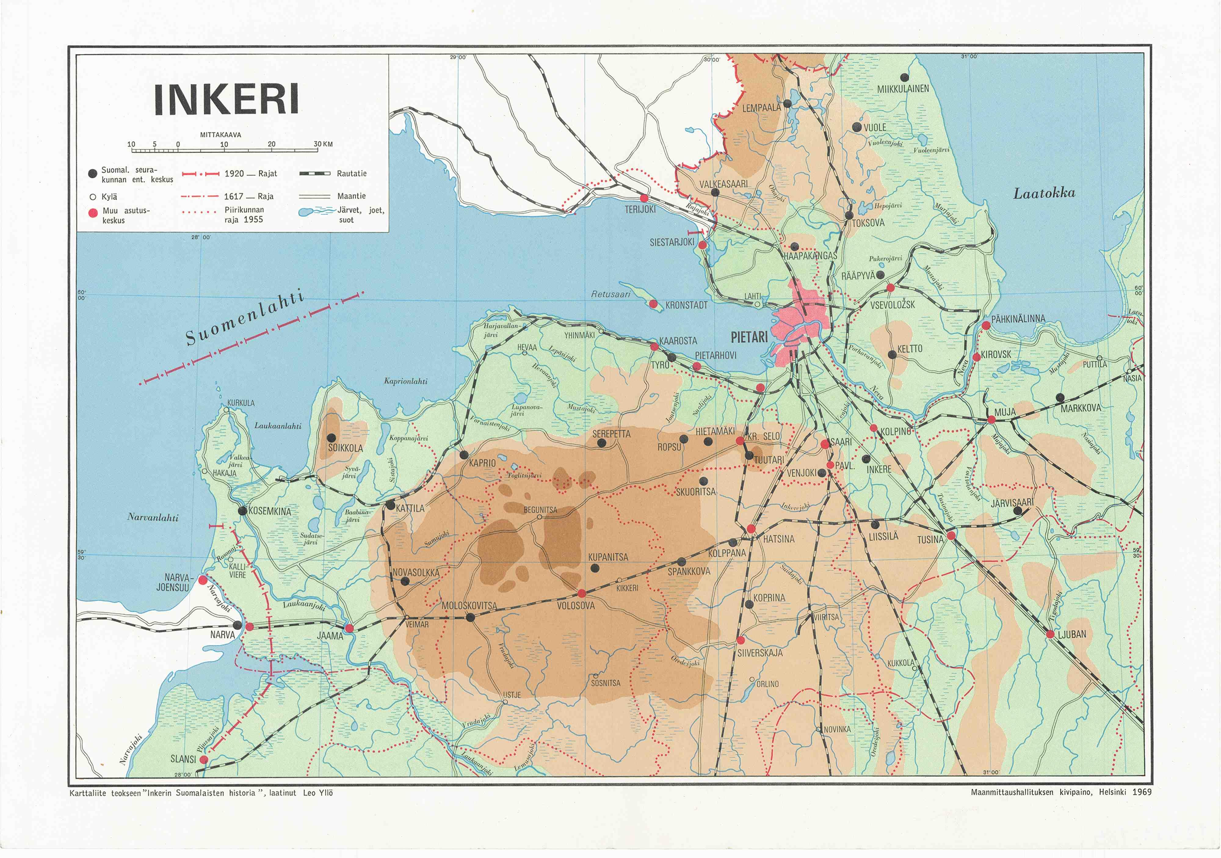 Inkerin kartta teokseen Inkerin suomalaisten historia, laatinut Leo Yllö, 1969. http://urn.fi/URN:NBN:fi-fe2015KKrt002806258 CC0