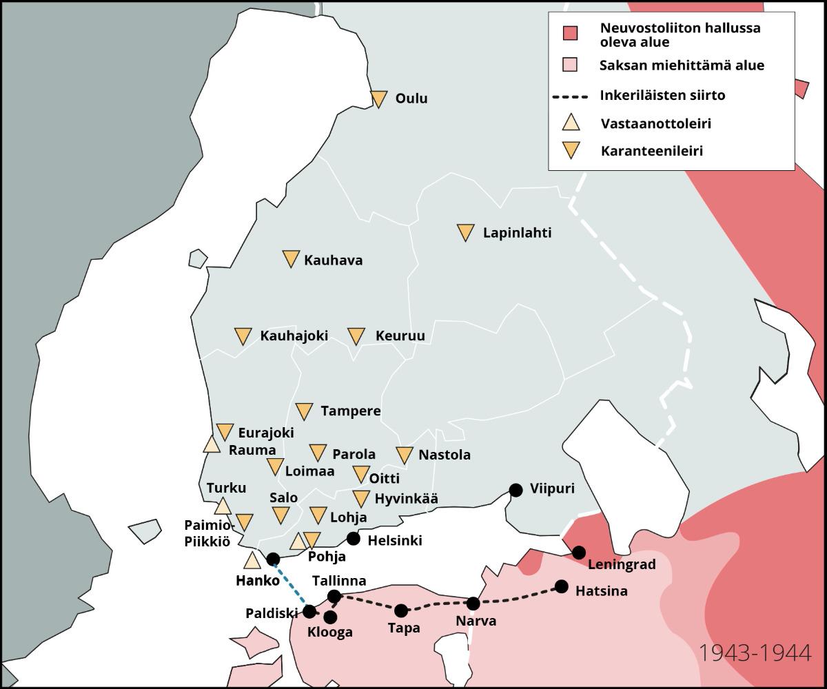 Inkeriläisten siirto toisen maailmansodan aikana Suomeen. Tekijä Hanna Ruusulampi. SKS. CC BY 4.0