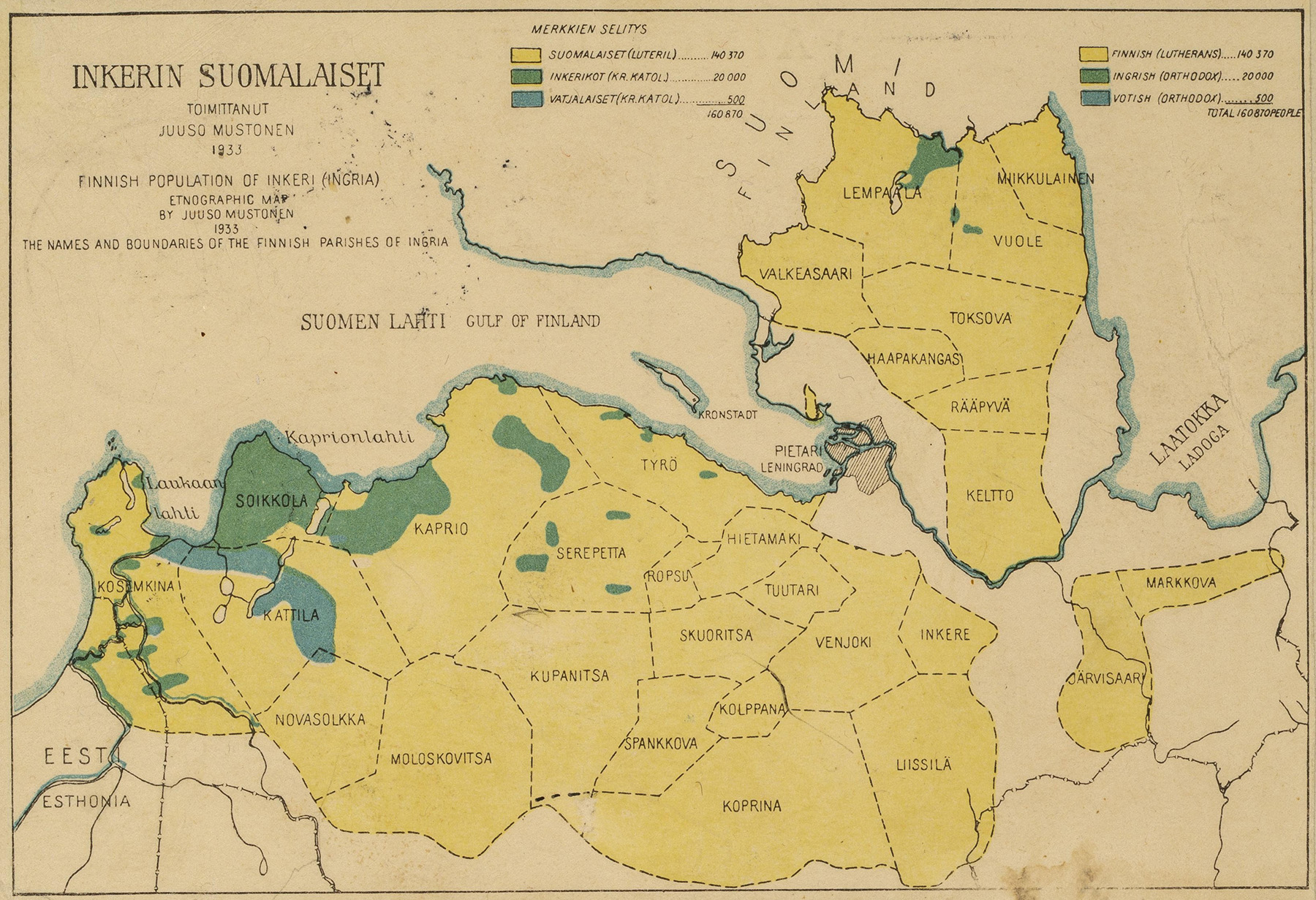 Inkerin seurakuntien kartta, josta näkee eri ryhmien asuinalueet. Kartan on laatinut Juuso Mustonen 1933. Kuva SKS:n arkisto, Kuortti-perheen arkisto.