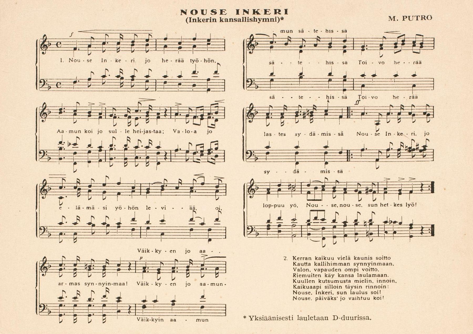 Mooses Putron säveltämän Nouse Inkeri -kansallislaulun nuotit. SKS KIA, Juho Vesan arkisto. CC BY 4.0