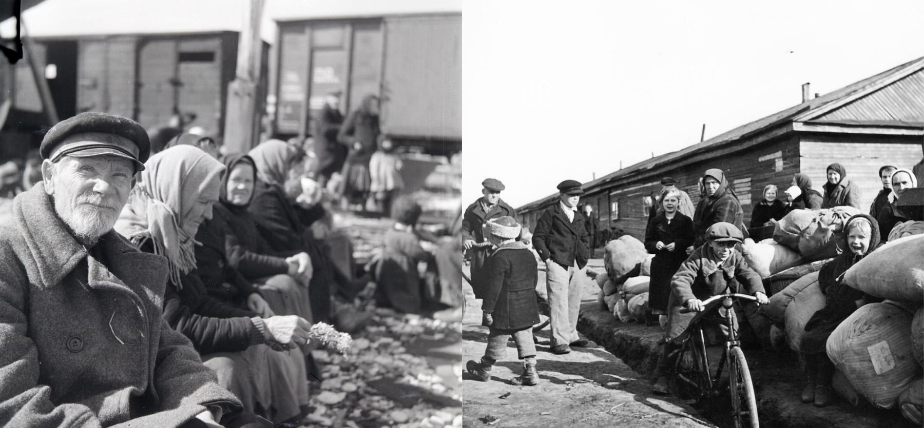 Inkeriläisiä pakolaisia odottamassa siirtoa Suomeen. Inkeriläisten sivistyssäätiön kokoelma, kuvat 2657 ja 521. CC BY 4.0