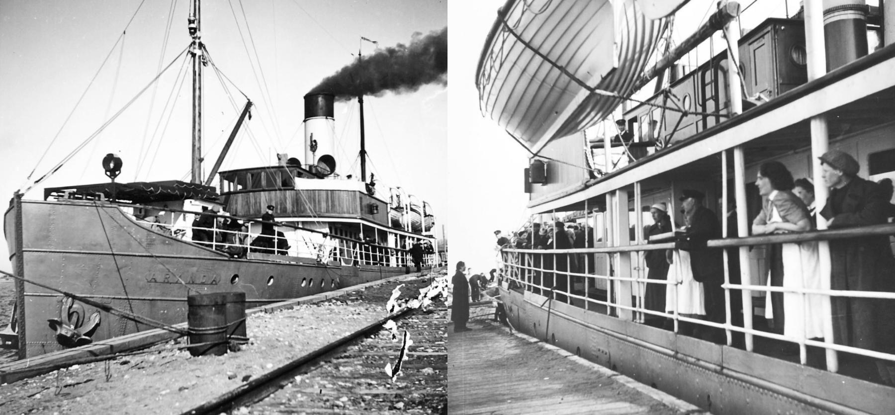 Inkeriläisten siirto Paldiskin satamasta Hankoon tapahtui muun muassa Aranda- ja Suomi-laivoilla. Inkeriläisten sivistyssäätiön kokoelma, kuvat 527 ja 503. CC BY 4.0