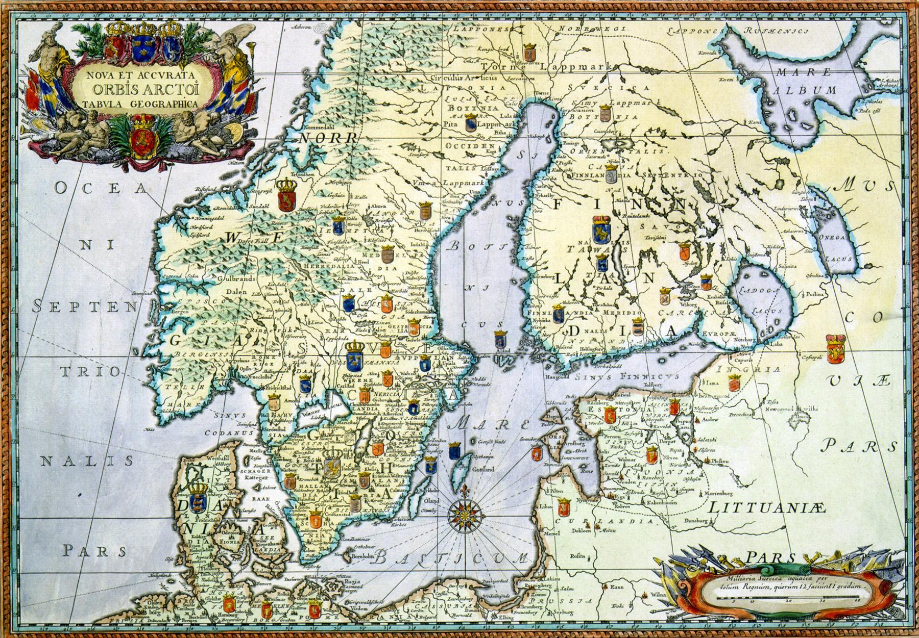 Kartta Heikki Rantatupa historialliset kartat portaalista (www.vanhakartta.fi). Ulkomaankartat: Ruotsin valtakunta. 1696. Alkuperä: Avoimen tiedon keskus / Jyväskylän yliopisto. Kartan pysyvä osoite: http://urn.fi/URN:NBN:fi:jyu-201009242736. CC0