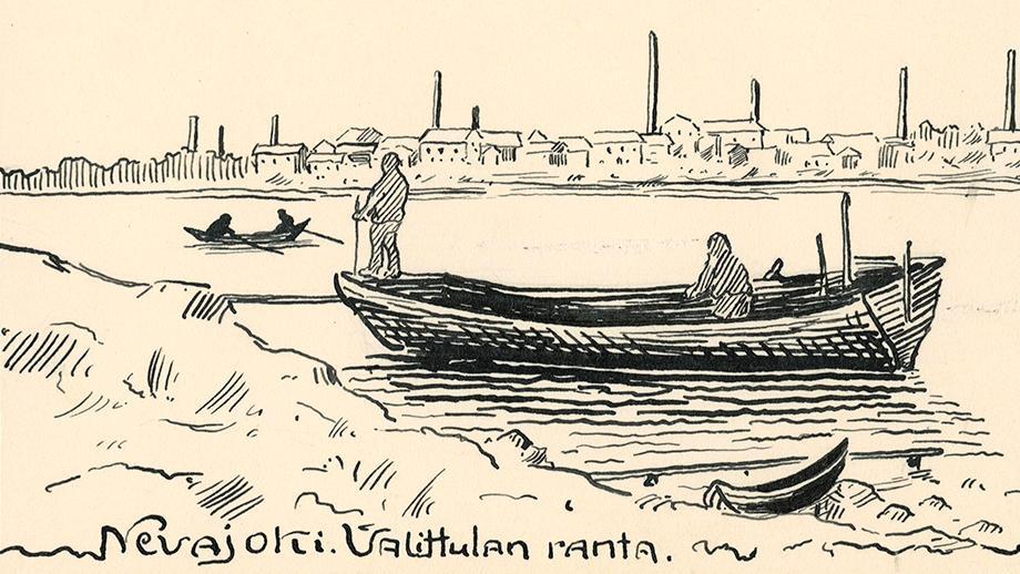 Nevajoki. Valittulan ranta. Samuli Paulaharjun piirustus vuodelta 1911. SKS KRA, Samuli Paulaharjun kokoelma E171. SKS. CC BY 4.0