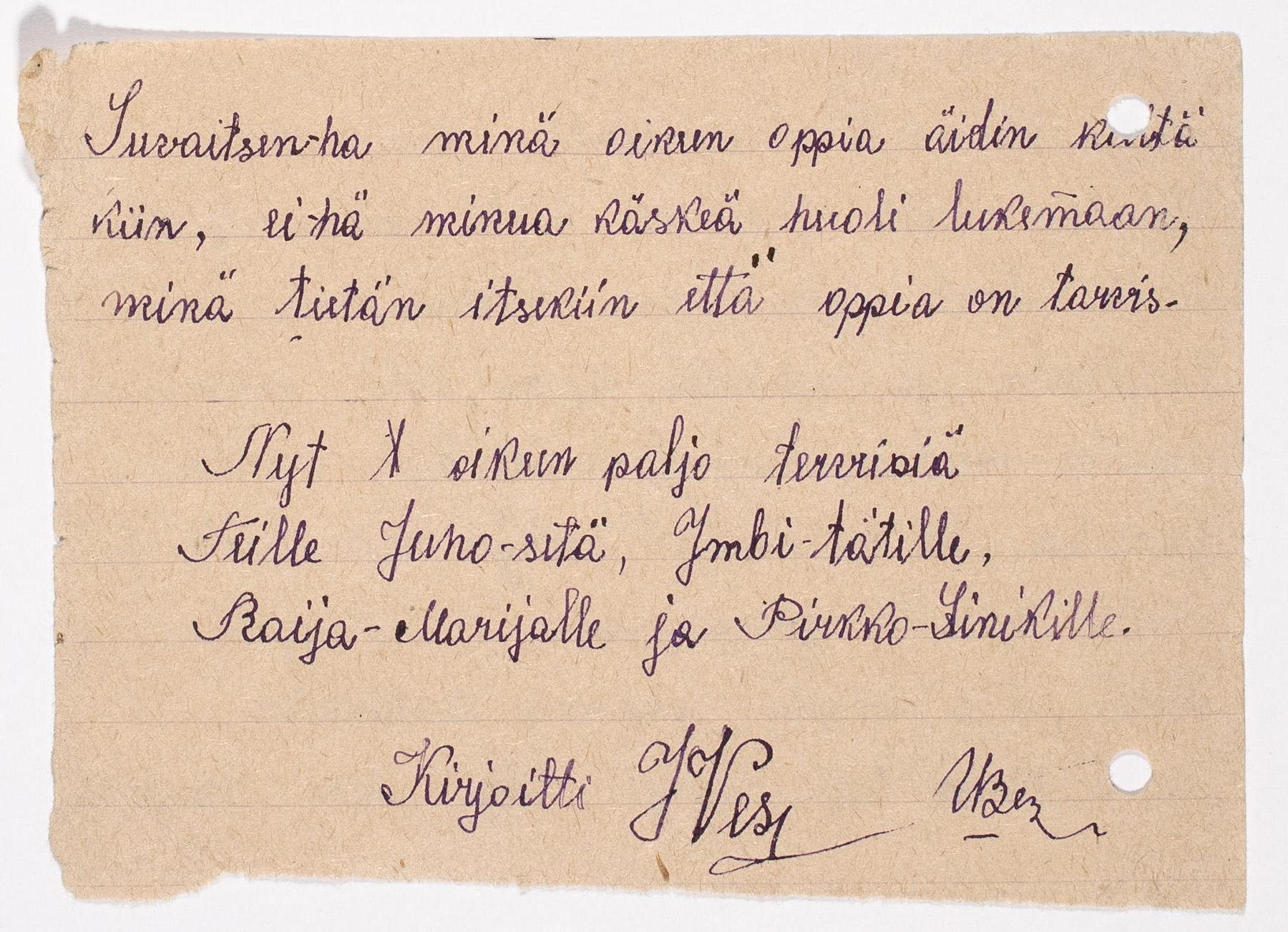 Juho Juhananpoika Vesan kirje sedälleen Juho Teponpoika Vesalle. SKS KIA, Juho Vesan arkisto. CC BY 4.0
