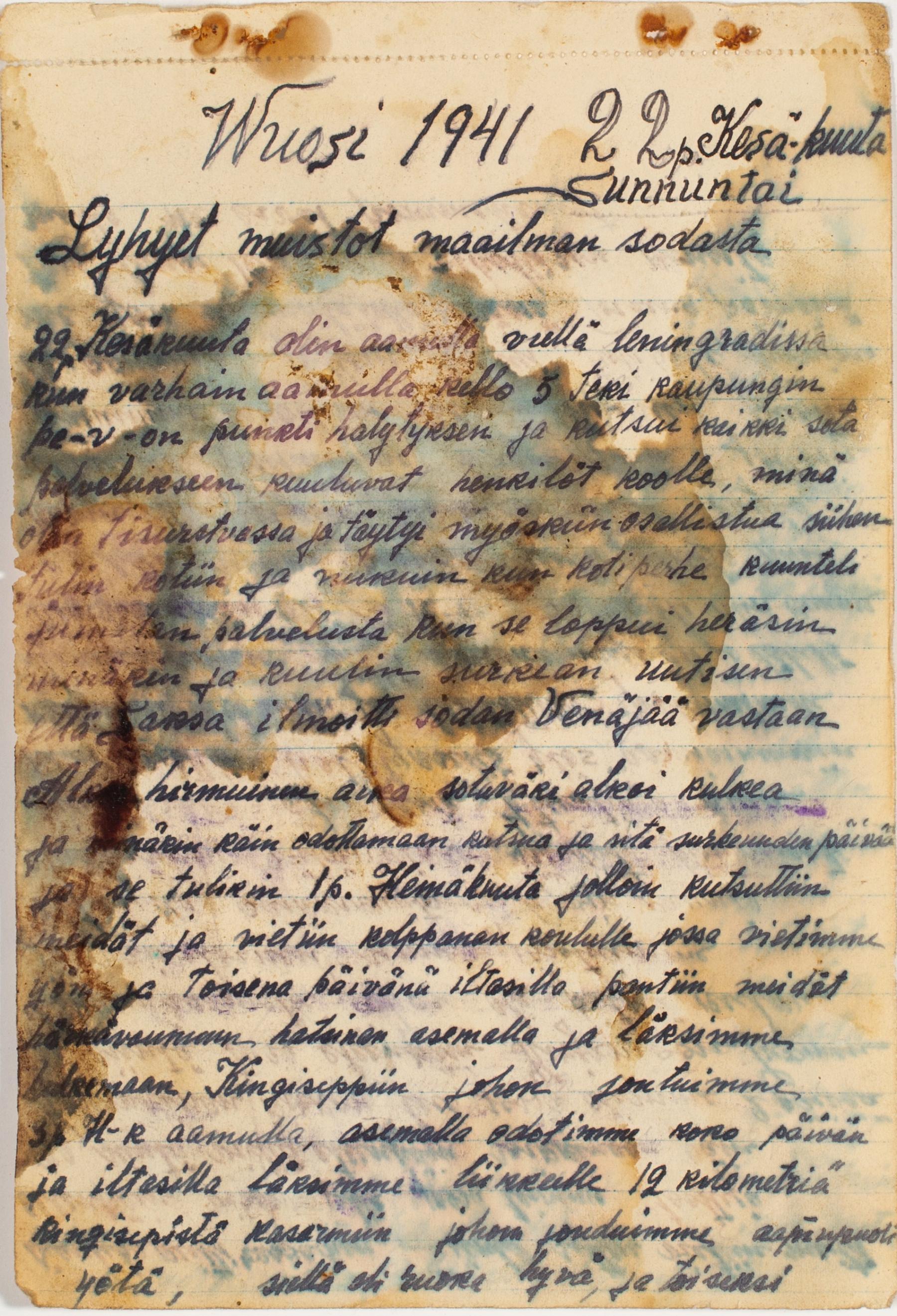Juho Pokkisen päiväkirjan sivu 22.6.1941. SKS KIA, Pokkinen-suvun arkisto. CC BY 4.0